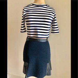 Club Monaco Navy/Black Leather Skirt 00